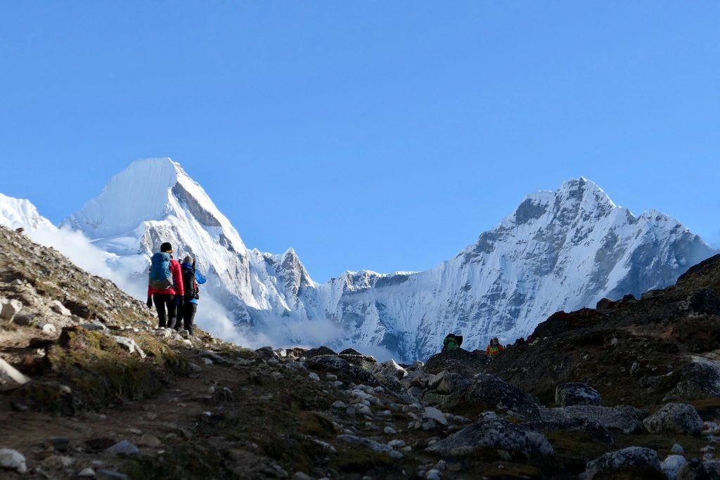 Tourist trekking on hill