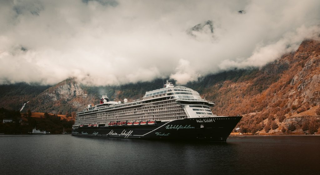 Cruise ship on the sea cloudy weather